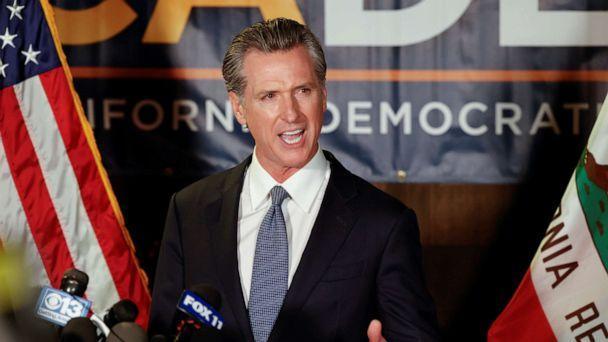 PHOTO: California Gov. Gavin Newsom makes an appearance after the polls close on the recall election, at the California Democratic Party headquarters in Sacramento, Calif., Sept. 14, 2021. (Fred Greaves/Reuters)