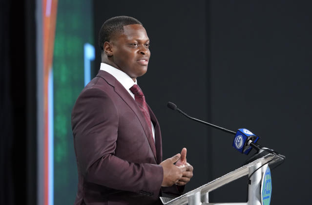 Miami's Shaquille Quarterman speaks during the Atlantic Coast Conference NCAA college football media days in Charlotte, N.C., Thursday, July 18, 2019. (AP Photo/Chuck Burton)