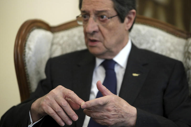 "Cyprus' president Nicos Anastasiades talks during an interview with the Associated Press at the presidential palace in capital Nicosia, Cyprus, Tuesday Sept. 17, 2019. Anastasiades says Turkey's ""obsession"" to permanently station troops, secure military intervention rights and extend its influence over Turkish Cypriots in any peace deal is fanning fears that it wants to turn the island into a ""protectorate.""(AP Photo/Petros Karadjias)"