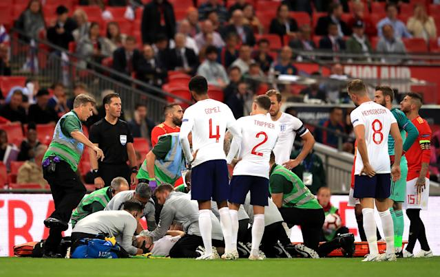 Luke Shaw was wheeled off on a stretcher after a collision with Dani Carvajal