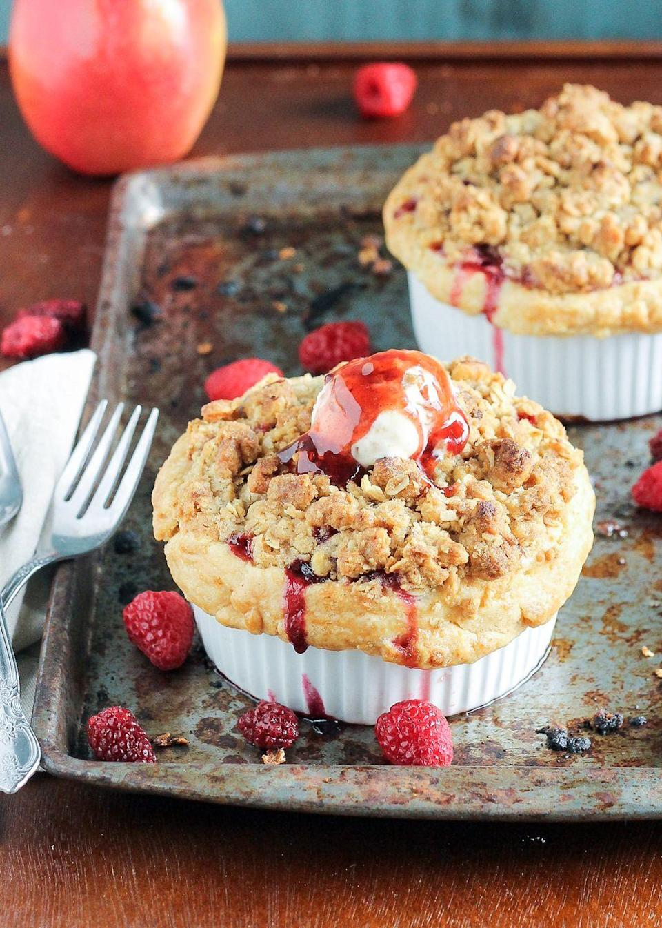 """<p>Replace with any kind of berry you'd like, but blackberries will give the most similar flavor.</p><p>Get the recipe from <a href=""""https://www.delish.com/cooking/recipe-ideas/recipes/a43506/mini-apple-berry-crumble-pies-recipe/"""" rel=""""nofollow noopener"""" target=""""_blank"""" data-ylk=""""slk:Delish"""" class=""""link rapid-noclick-resp"""">Delish</a>.</p>"""