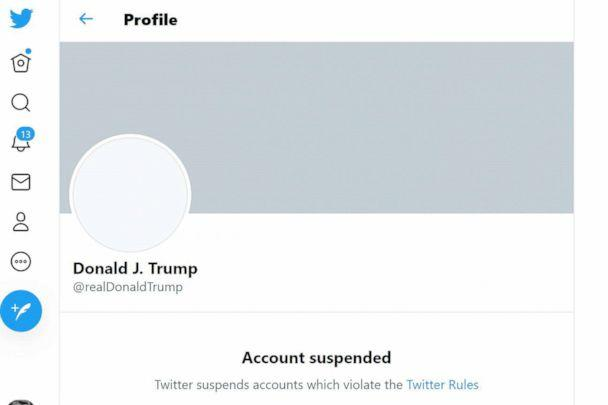 PHOTO: In this screen grab from Twitter, the suspended Twitter account of President Donald Trump is seen on Jan. 8, 2021. (Eric Baradat/Twitter/AFP via Getty Images)