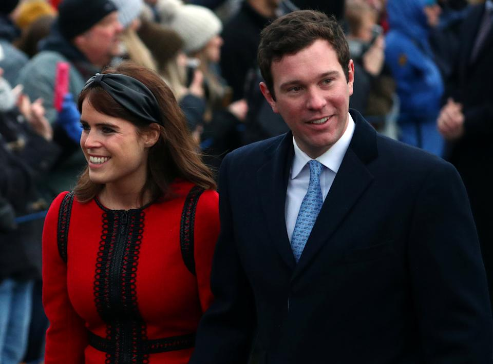 Princess Eugenie and Jack Brooksbank arrive at St Mary Magdalene's church for the Royal Family's Christmas Day service on the Sandringham estate in eastern England, Britain, December 25, 2018. REUTERS/Hannah McKay