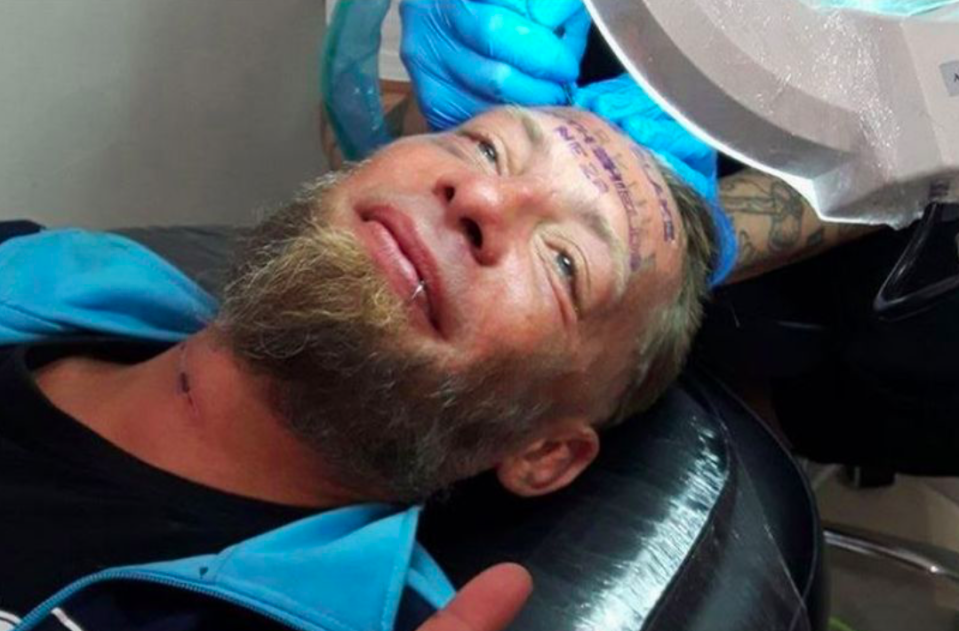 <em>Homeless man Tomek claimed he was a paid £89 by a British stag group to have the groom's name tattooed on his forehead (Facebook)</em>