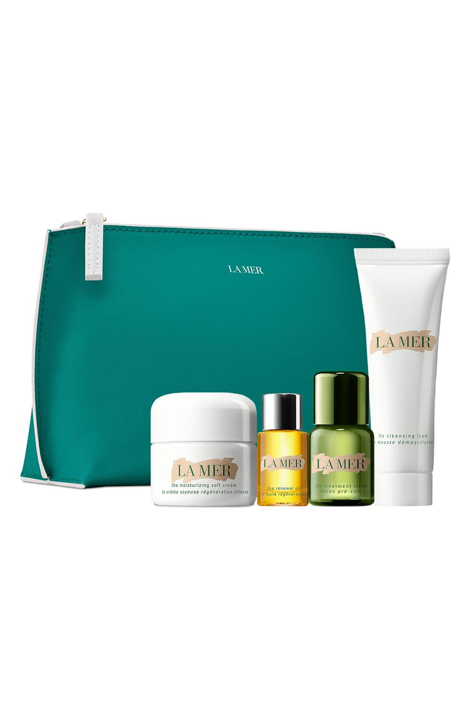 """<p><strong>La Mer </strong></p><p>nordstrom.com</p><p><a href=""""https://go.redirectingat.com?id=74968X1596630&url=https%3A%2F%2Fwww.nordstrom.com%2Fs%2Fla-mer-travel-size-the-moisturizing-soft-cream-set-182-value%2F5919476&sref=https%3A%2F%2Fwww.harpersbazaar.com%2Fbeauty%2Fg36991550%2Fnordstrom-anniversary-sale-beauty-deals%2F"""" rel=""""nofollow noopener"""" target=""""_blank"""" data-ylk=""""slk:Shop Now"""" class=""""link rapid-noclick-resp"""">Shop Now</a></p><p><strong>Sale: $95</strong></p><p><strong>Value: $182</strong></p><p>If you or a loved one has somehow made it this long without trying La Mer moisturizers, this travel-friendly will quickly reveal why La Mer is a <a href=""""https://www.harpersbazaar.com/uk/beauty/skincare/a22775996/la-mer-billion-dollar-brand/"""" rel=""""nofollow noopener"""" target=""""_blank"""" data-ylk=""""slk:billion-dollar"""" class=""""link rapid-noclick-resp"""">billion-dollar </a>beauty brand. The collection includes one Moisturizing Soft Cream, one Cleansing Foam, one Treatment Lotion and one Skin Renewal Oil. </p>"""