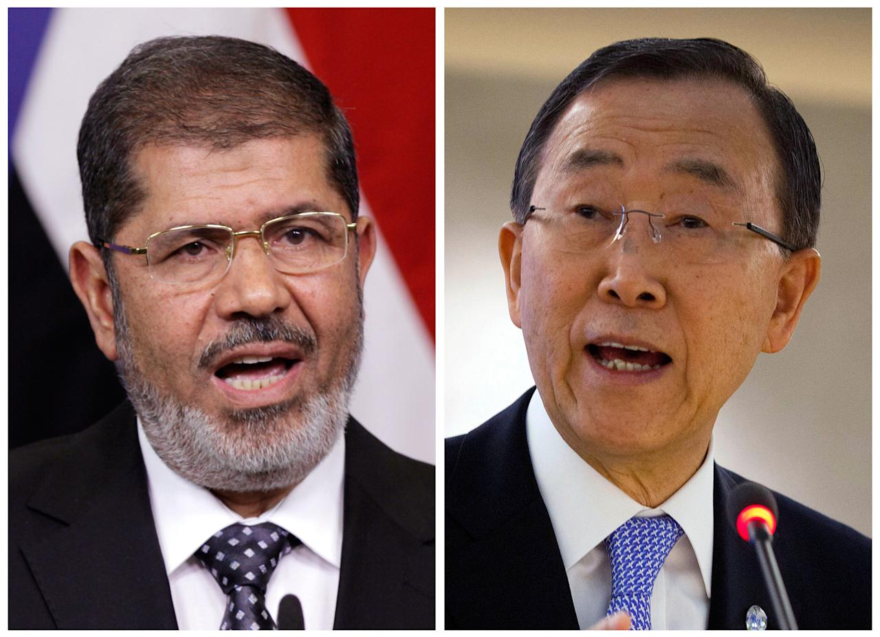 FILE - This combination of file photos shows Egyptian President Mohamed Morsi, left, speaking at the European Union headquarters in Brussels on Sept. 13, 2012, and United Nations Secretary-General Ban Ki-moon, right, speaking at the United Nations in Geneva, Switzerland, on Sept. 10, 2012. Morsi and Ban will each speak at the Clinton Global Initiative annual meeting starting Sunday, Sept. 23, 2012, New York. (AP Photo/File)