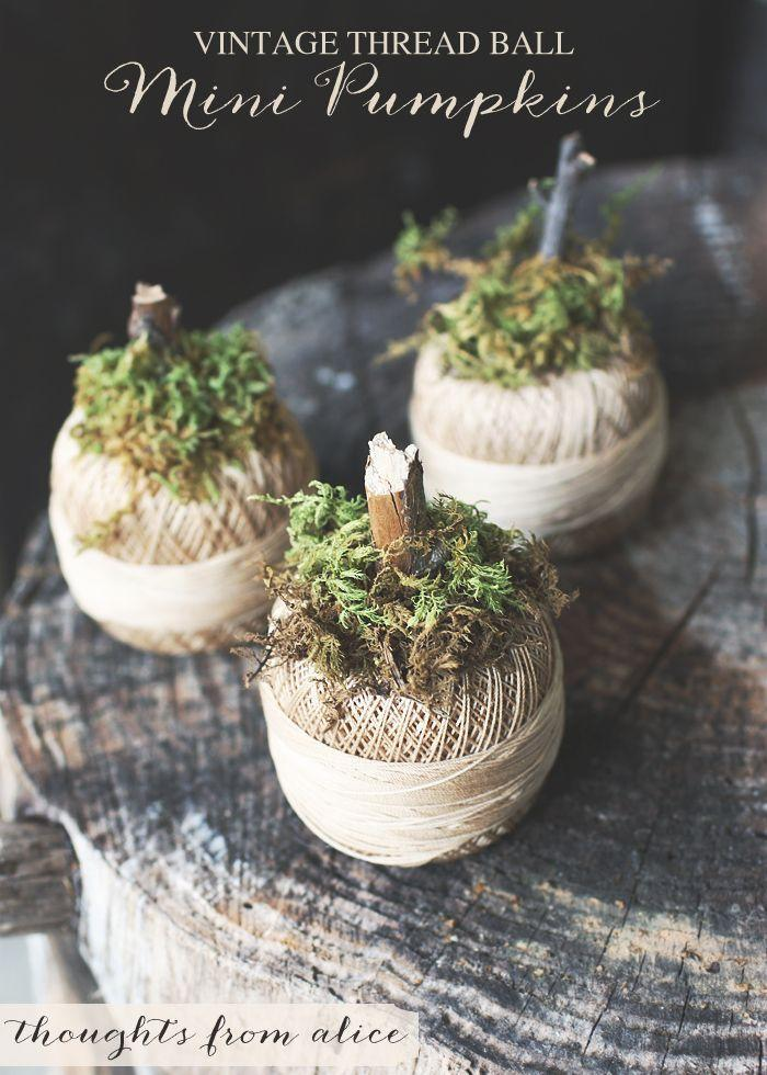 """<p>These little pumpkins are so cute and simple—perfect for outdoor decor.</p><p><strong>Get the tutorial at <a href=""""http://www.thoughtsfromalice.com/2014/09/vintage-thread-ball-mini-pumpkins.html"""" rel=""""nofollow noopener"""" target=""""_blank"""" data-ylk=""""slk:Thoughts from Alice"""" class=""""link rapid-noclick-resp"""">Thoughts from Alice</a>.</strong> </p>"""