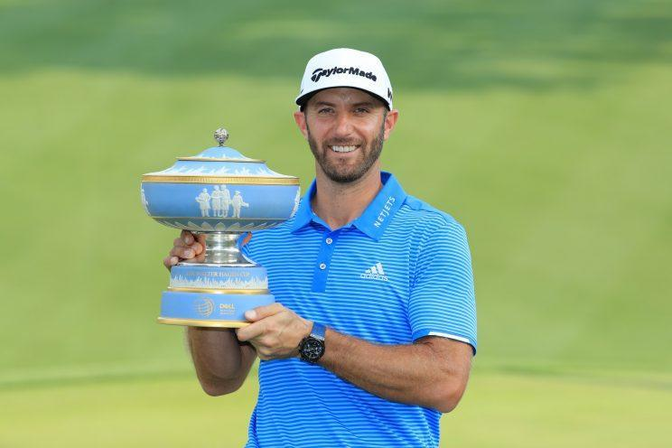 Dustin Johnson has plenty of trophies, and now he can take a little nap. (Getty Images)