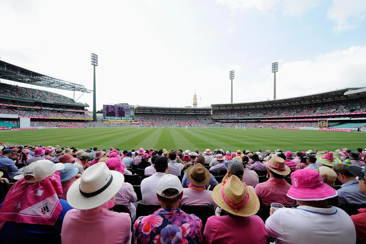 SYDNEY, AUSTRALIA - JANUARY 05: A general view of fans wearing pink during day three of the Fifth Ashes Test match between Australia and England at Sydney Cricket Ground on January 5, 2014 in Sydney, Australia.  (Photo by Brett Hemmings/Getty Images)