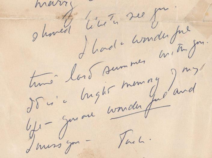 The second partial letter is signed 'Jack' and reads: '…coming and perhaps you could make me a reservation. I am anxious to see you'RR Auction
