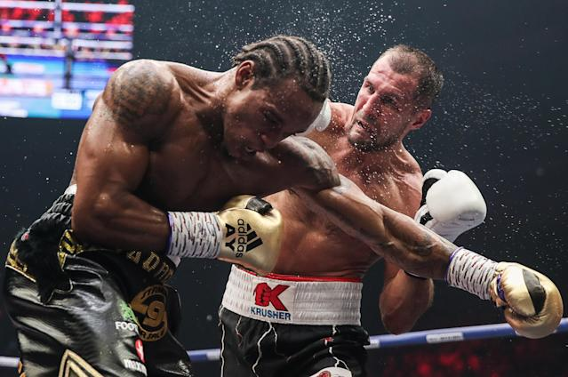 Anthony Yarde (L) and Sergey Kovalev in their WBO light heavyweight title bout at Traktor Ice Arena. (Getty Images)