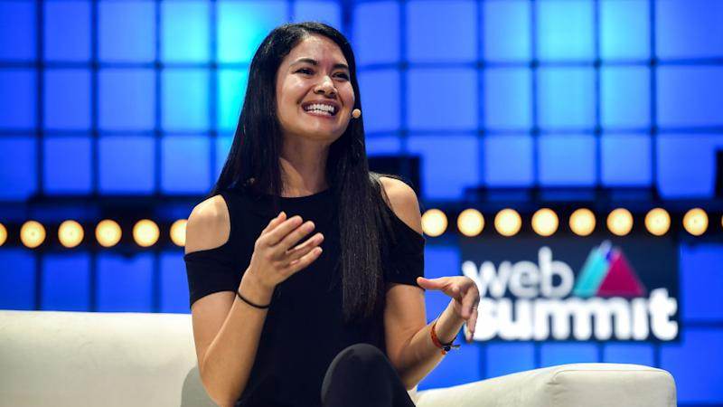 Melanie Perkins, Co-founder & CEO, Canva, on Centre Stage during the opening day of Web Summit 2019 at the Altice Arena in Lisbon, Portugal.