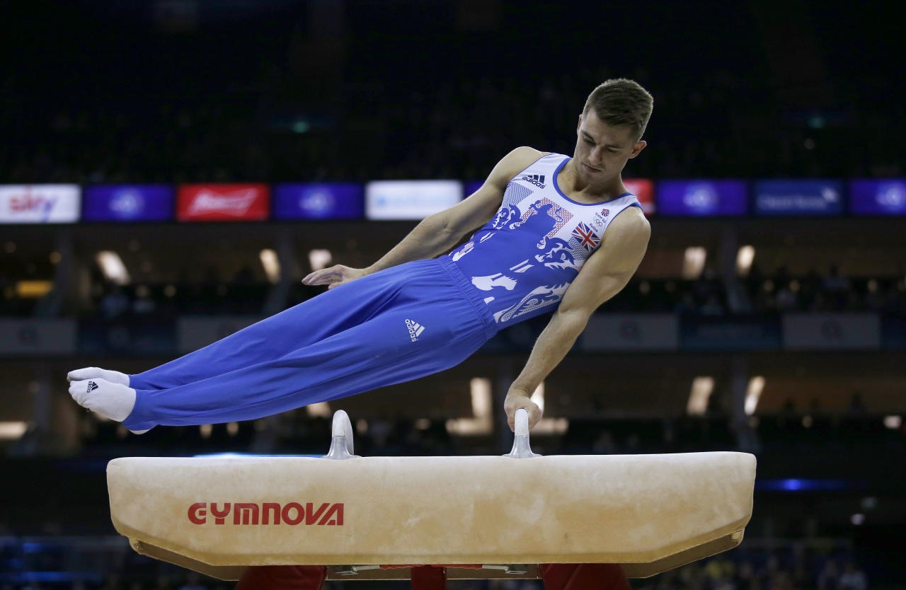 Britain Gymnastics - World Cup of Gymnastics - The O2 Arena, London - 8/4/17 Max Whitlock of Great Britain during an exhibition on the pommel horse Action Images via Reuters / Matthew Childs Livepic