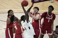 Mississippi State forward Abdul Ado (24) shoots a basket over Alabama defenders, including forward Alex Reese (3) and guard Keon Ellis (14), during the first half of an NCAA college basketball game in Starkville, Miss., Saturday, Feb. 27, 2021. (AP Photo/Rogelio V. Solis)