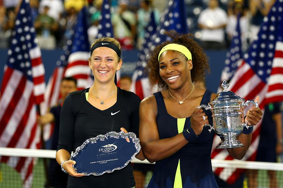 Serena Williams of the United States poses with the championship trophy next to Victoria Azarenka of Belarus following her victory in the women's singles final match on Day Fourteen of the 2012 US Open at USTA Billie Jean King National Tennis Center on September 9, 2012 in the Flushing neighborhood of the Queens borough of New York City. (Photo by Al Bello/Getty Images)