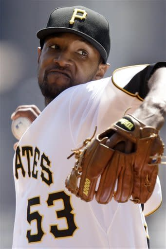 Pittsburgh Pirates pitcher James McDonald throws in the first inning of a baseball game against the Colorado Rockies in Pittsburgh Wednesday, April 25, 2012. (AP Photo/Gene J. Puskar)