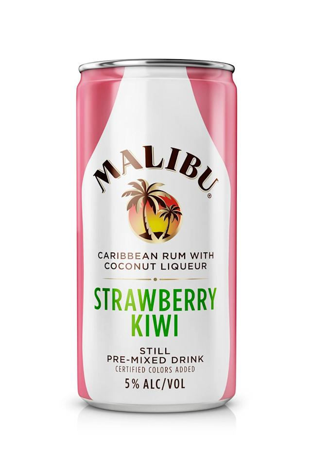 """<p><strong>Malibu</strong></p><p>drizly.com</p><p><strong>$8.79</strong></p><p><a href=""""https://go.redirectingat.com?id=74968X1596630&url=https%3A%2F%2Fdrizly.com%2Fliquor%2Fready-to-drink%2Ffruit-cocktail-ready-to-drink%2Fmalibu-strawberry-kiwi%2Fp60508&sref=http%3A%2F%2Fwww.marieclaire.com%2Ffood-cocktails%2Fg28246751%2Fcanned-cocktails%2F"""" target=""""_blank"""">SHOP IT</a></p><p>Oh Malibu, how I love thee. I hold a special place in my heart for Malibu—it helped ease everyone I know into their first hangover. I personally was more of a Smirnoff Ice gal (we'll get to them later), but pineapple and Malibu was always my sister's go-to. One major thing to keep in mind with these pre-mixed rum cocktails is that they have .05 percent more alcohol content than most other cans, coming in at 5 percent alcohol, and that's sure to get you buzzed a little faster. Expect the same coconut-y flavor in all three delicious flavors: fizzy pink lemonade, piña colada, and strawberry kiwi. </p>"""