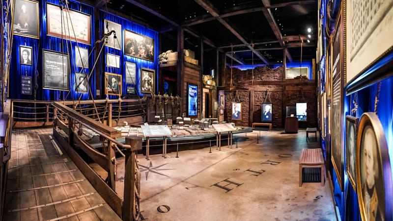The gangplank is one of the visuals shared between the theater production and the exhibition.