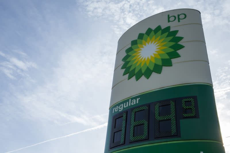 The price for regular unleaded gasoline is advertised at a BP station in Troy, Missouri