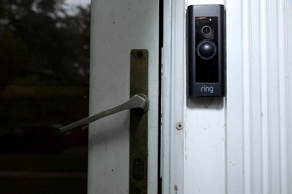 A doorbell device with a built-in camera made by home security company Ring is seen on August 28, 2019, in Silver Spring, Maryland. These devices allow users to see video footage of who is at their front door when the bell is pressed or when motion activates the camera. (Photo by Chip Somodevilla/Getty Images)