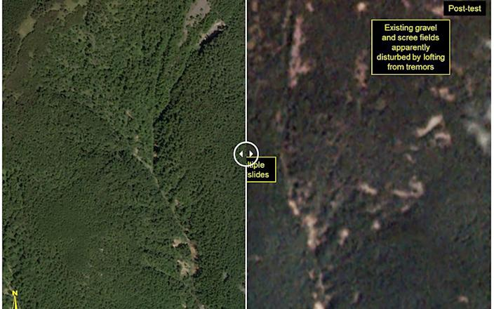 This before-and-after images courtesy of Planet, show a closer view of the Punggye-ri test site where the atomic test was carried out - AFP