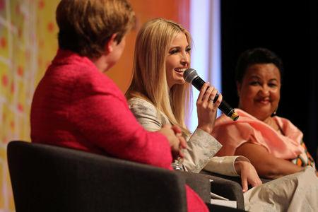 White House Advisor Ivanka Trump speaks during the first Women Entrepreneurs Finance Initiative (We-Fi) at the Sofitel hotel Ivoire in Abidjan, Ivory Coast April 17, 2019. REUTERS/Thierry Gouegnon