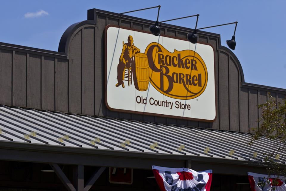 the exterior of a Cracker Barrel restaurant in Indianapolis, Indiana