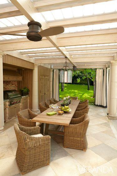 """<p>This Dallas patio belongs to designer <a href=""""https://perennialsandsutherland.com/"""" rel=""""nofollow noopener"""" target=""""_blank"""" data-ylk=""""slk:Ann Sutherland"""" class=""""link rapid-noclick-resp"""">Ann Sutherland</a>, who wanted her outdoor space to be comfortable yet stylish for frequent entertaining. An outdoor grill, large pantry, ceiling fans, and lengthy table with comfortable chairs from Restoration Hardware helped Sutherland accomplish her goal.</p>"""