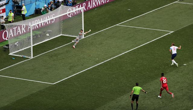 <p>England's Harry Kane scores their fifth goal from a penalty REUTERS/Ivan Alvarado </p>
