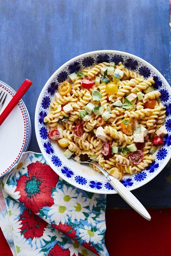 """<p>This easy side is tangy, colorful, and just the thing you need at your next cookout. It can (and should) be made at least 2 hours before serving so make it ahead of time and you'll have less work to do when it comes time to party. </p><p><a href=""""https://www.thepioneerwoman.com/food-cooking/recipes/a32336651/chipotle-pasta-salad-with-mozzarella-recipe/"""" rel=""""nofollow noopener"""" target=""""_blank"""" data-ylk=""""slk:Get Ree's recipe."""" class=""""link rapid-noclick-resp""""><strong>Get Ree's recipe. </strong></a></p><p><a class=""""link rapid-noclick-resp"""" href=""""https://go.redirectingat.com?id=74968X1596630&url=https%3A%2F%2Fwww.walmart.com%2Fsearch%2F%3Fquery%3Dmeasuring%2Bcup&sref=https%3A%2F%2Fwww.thepioneerwoman.com%2Ffood-cooking%2Fmeals-menus%2Fg36353420%2Ffourth-of-july-side-dishes%2F"""" rel=""""nofollow noopener"""" target=""""_blank"""" data-ylk=""""slk:SHOP MEASURING CUPS"""">SHOP MEASURING CUPS</a></p>"""