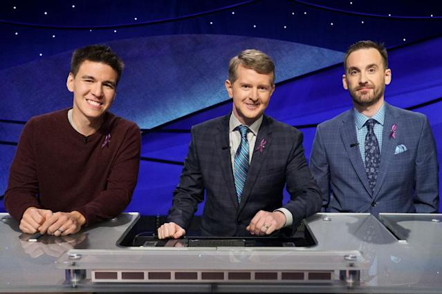James Holzhauer, Ken Jennings and Brad Rutter competed on the primetime specials <em>Jeopardy! The Greatest of All Time</em>. (Photo: Eric McCandless via Getty Images)
