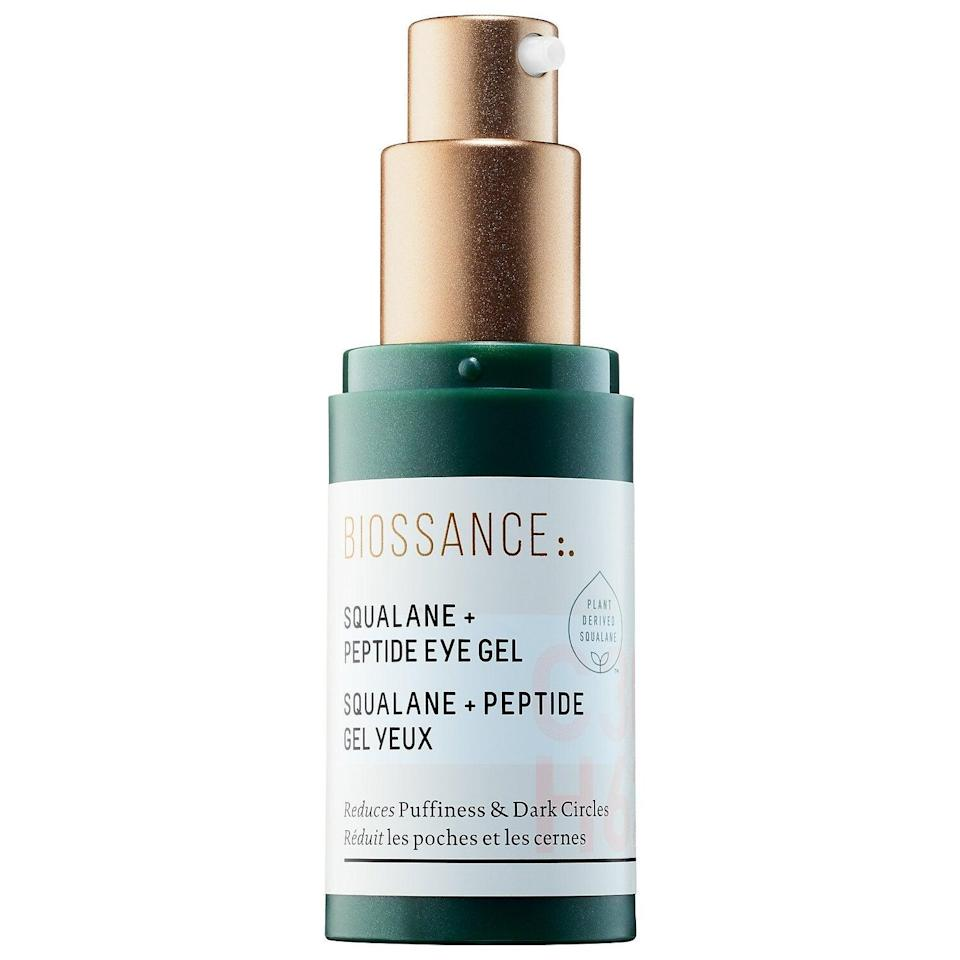 "<h3>Biossance Squalane + Peptide Eye Gel</h3><br>This squalane-based eye gel was a number-one bestseller at <a href=""https://www.refinery29.com/en-us/2017/04/149942/sephora-best-selling-biossance-eye-gel"" rel=""nofollow noopener"" target=""_blank"" data-ylk=""slk:Sephora"" class=""link rapid-noclick-resp"">Sephora</a> — and for good reason. It hydrates, is fragrance-free, and is also incredibly light.<br><br><strong>Biossance</strong> Squalane + Peptide Eye Gel, $, available at <a href=""https://go.skimresources.com/?id=30283X879131&url=https%3A%2F%2Fwww.sephora.com%2Fproduct%2Fsqualane-peptide-eye-gel-P416562"" rel=""nofollow noopener"" target=""_blank"" data-ylk=""slk:Sephora"" class=""link rapid-noclick-resp"">Sephora</a>"