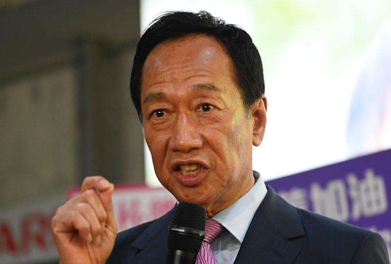 Foxconn founder Terry Gou speaks during a press conference after an investors conference in Tucheng district, New Taipei City on June 21, 2019. - Taiwan's richest man Terry Gou said on June 21 he would cede control of tech giant Foxconn to a committee, leaving the Apple-supplier in uncharted waters while he runs for president. (Photo by Sam YEH / AFP) (Photo credit should read SAM YEH/AFP/Getty Images)