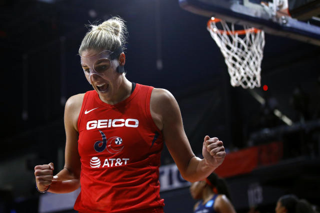 "<a class=""link rapid-noclick-resp"" href=""/wnba/teams/was"" data-ylk=""slk:Washington Mystics"">Washington Mystics</a> forward <a class=""link rapid-noclick-resp"" href=""/wnba/players/5058/"" data-ylk=""slk:Elena Delle Donne"">Elena Delle Donne</a> is in the starting lineup for game 3. (AP Photo/Patrick Semansky)"
