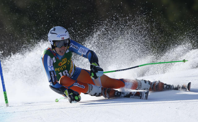 Henrik Kristoffersen of Norway competes during the first run of an alpine ski men's World Cup giant slalom, in Kranjska Gora, Slovenia, Saturday, March 8, 2014. (AP Photo/Shinichiro Tanaka)