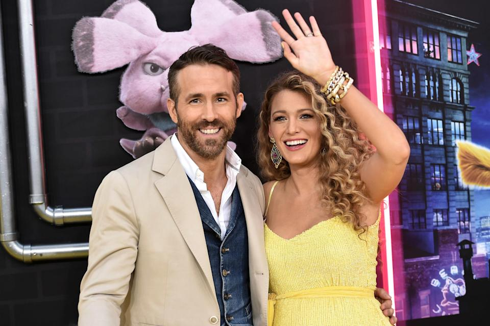 """Ryan Reynolds and Blake Lively attend the premiere of """"Pokémon Detective Pikachu"""" at Military Island in Times Square on May 2, 2019, in New York City"""