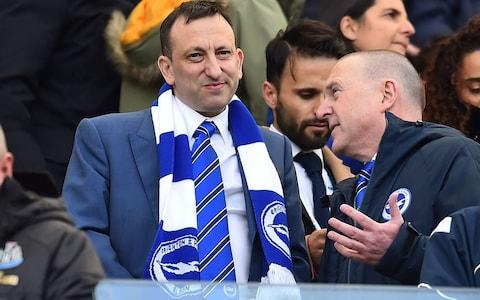 Tony Bloom watches a Brighton game - Credit: Getty images