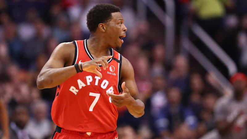 Toronto Raptors guard Kyle Lowry left Tuesday's game against the Phoenix Suns after a collision with teammate Terence Davis. (Mark J. Rebilas-USA TODAY Sports)
