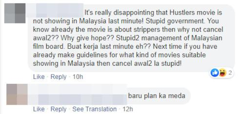 """Hustlers"" fans are not happy with the movie not releasing in Malaysia."