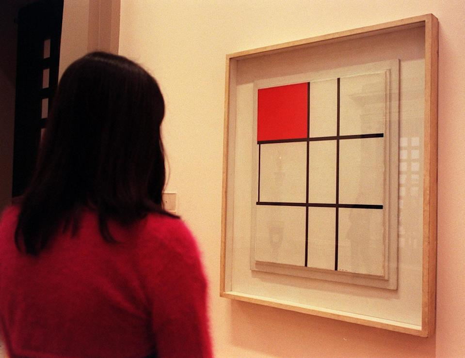 'Composition B with Red' a work by Dutch abstract painter Piet Mondrian (1872-1944),  at the Tate Gallery. The work will be displayed at the gallery before becoming part of the international collection at the Tate Modern, which opens on 12th May 2000.   (Photo by Matthew Fearn - PA Images/PA Images via Getty Images)