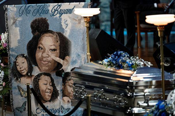 PHOTO: A banner with portraits of Ma'Khia Bryant, a Black teenage girl fatally shot by police, is displayed next to her casket during her funeral in Columbus, Ohio, April 30, 2021. (Gaelen Morse/Reuters)