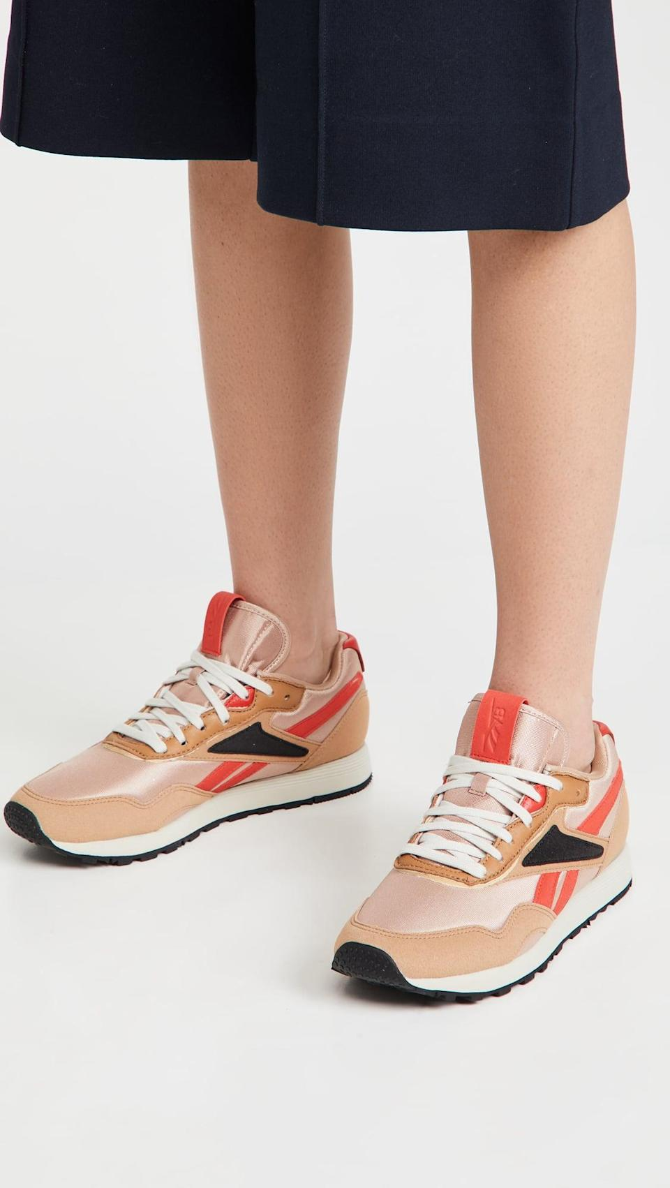 <p>The stripe motif and fun color scheme of these <span>Reebok x Victoria Beckham Rapide Vb Sneakers</span> ($150) make them a step above the rest. Designed for everyday wear, they feature a comfortable rubber sole, a lightweight midsole, and lace-up closure.</p>