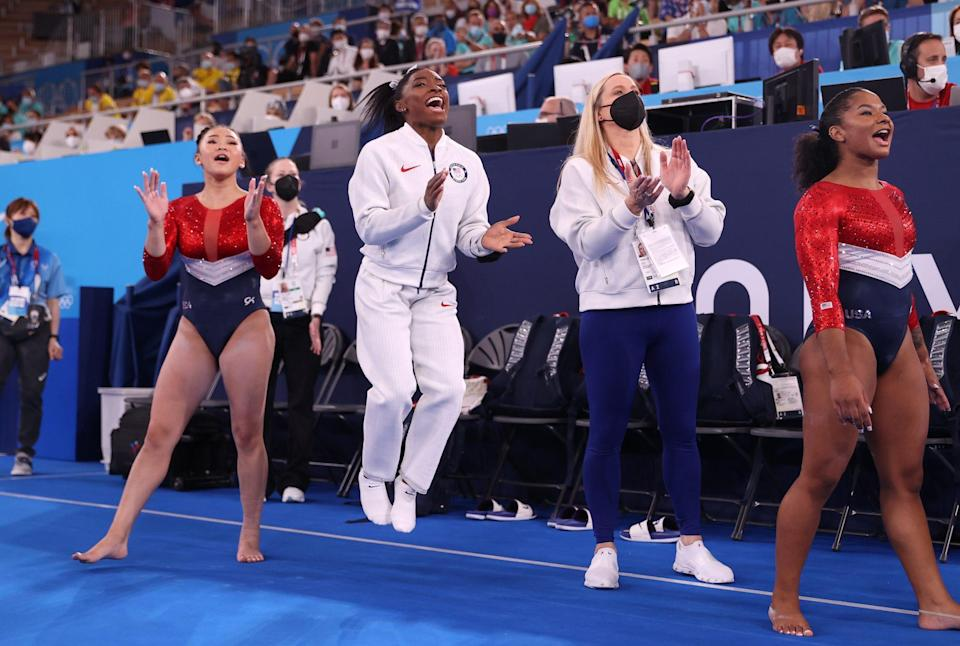 """<p><strong>""""I just felt like it would be a little bit better to take a backseat, <a href=""""https://people.com/sports/tokyo-olympics-what-simone-biles-said-the-night-before-she-withdrew/"""" rel=""""nofollow noopener"""" target=""""_blank"""" data-ylk=""""slk:work on my mindfulness"""" class=""""link rapid-noclick-resp"""">work on my mindfulness</a> and I knew that the girls would do an absolutely great job. I didn't want to risk the team a medal for, kind of, my screw-up — because they've worked way too hard for that.""""</strong></p> <p>— to reporters after her <a href=""""https://people.com/sports/tokyo-olympics-simone-biles-pulls-out-womens-team-final/"""" rel=""""nofollow noopener"""" target=""""_blank"""" data-ylk=""""slk:sudden exit from the women's gymnastics team final"""" class=""""link rapid-noclick-resp"""">sudden exit from the women's gymnastics team final</a> at the Tokyo Olympics</p>"""