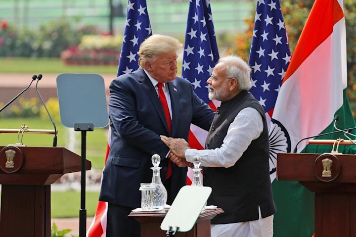 President Donald Trump and Indian Prime Minister Narendra Modi shake hands after a joint statement in New Delhi, India, on Feb. 25, 2020.