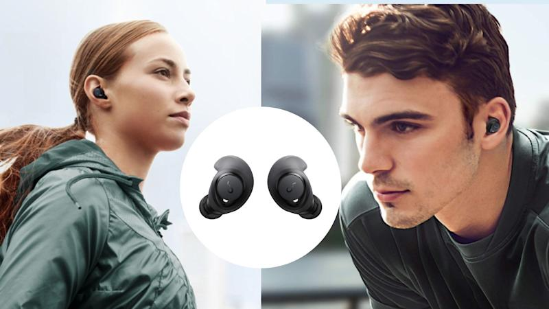 The Anker Soundcore ear buds offer up to 100 hours of play time - and they're on sale. Image via Amazon.
