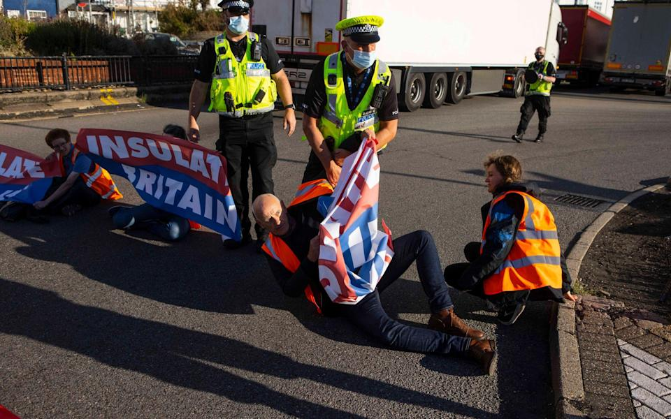 Police attempt to remove Insulate Britain protesters from blocking the port - Jamie Lorriman