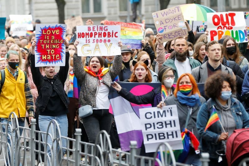 Participants take part in the Equality March, organized by the LGBT+ community in Kyiv