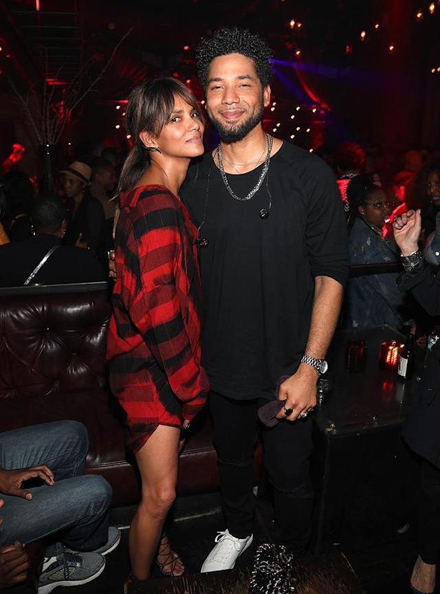 "<p>The <em>Empire</em> star couldn't wipe the smile off his face as he posed with the stunning actress, who showed up to support Smollett at the release party for his debut album ""Sum Of My Music"" on Thrusday night in Hollywood. (Photo: Jerritt Clark/Getty Images) </p>"