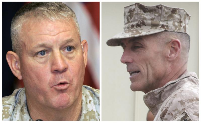 A combination photo shows U.S. Marine Corps Major General Gregg A. Sturdevant (R) in Afghanistan on November 22, 2012 and Major General Charles Gurganus in Iraq on May 13, 2007. Sturdevant and Gurganus were effectively fired by the head of the Marines Corp on September 30, 2013 over their failure to defend a major base in Afghanistan from a deadly Taliban attack last year, in an extraordinary and rare public censure. REUTERS/Sabah Arar/Pool/Files (left image) and Sgt. Keonaona C. Paulo/U.S. Marine Corps/Handout via Reuters (right image) (MILITARY POLITICS) ATTENTION EDITORS - THE IMAGE ON THE RIGHT WAS CROPPED FROM A PICTURE PROVIDED BY A THIRD PARTY. FOR EDITORIAL USE ONLY. NOT FOR SALE FOR MARKETING OR ADVERTISING CAMPAIGNS