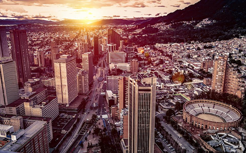 Panoramic aerial view of downtown Bogota, Colombia on sunset. (Photo: Getty Images)